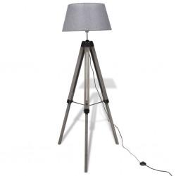 stradeXL Drewniana lampa podłogowa z kloszem z materiału, szara