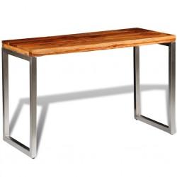 stradeXL Stół lub biurko z drewna sheesham z metalowymi nogami