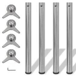 4 Nogi do stołu z regulacją wysokości 710 mm Nikiel