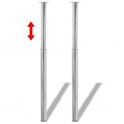 2 Telescopic Table Legs Chrome 710 mm-1100 mm