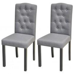 stradeXL Krzesła do jadalni, 2 szt., jasnoszare, tapicerowane tkaniną