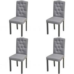 stradeXL Krzesła do jadalni, 4 szt., jasnoszare, tapicerowane tkaniną