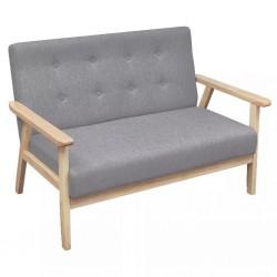 stradeXL Sofa 2-osobowa, tapicerowana tkaniną, jasnoszara
