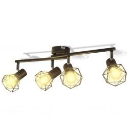 Reflektor sufitowy w industrialnym stylu z 4 żarówkami LED