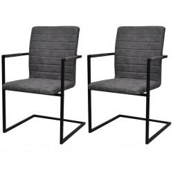 stradeXL Krzesła stołowe, wspornikowe, 2 szt., szare, sztuczna skóra