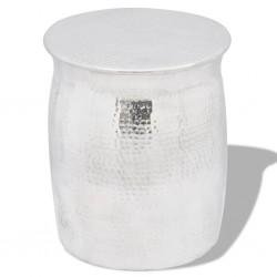 stradeXL Stolik kawowy/stołek z młotkowanego aluminium, kolor srebrny