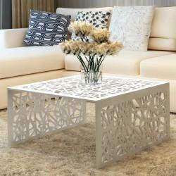 stradeXL Ażurowy stolik kawowy z aluminium, kolor srebrny