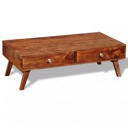 stradeXL Stolik kawowy z 4 szufladami, lite drewno sheesham, wys. 35 cm