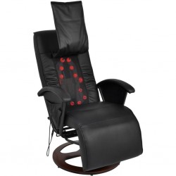 stradeXL Fotel do masażu shiatsu, czarny, sztuczna skóra