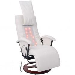 stradeXL Fotel do masażu shiatsu, biały, sztuczna skóra