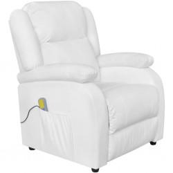 stradeXL Fotel masujący, biały, sztuczna skóra