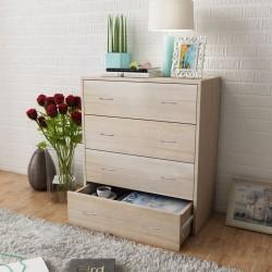 stradeXL Komoda z 4 szufladami, 60 x 30,5 x 71 cm, kolor dębowy
