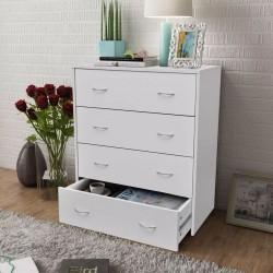 stradeXL Komoda z 4 szufladami, 60 x 30,5 x 71 cm, biała