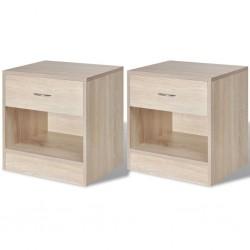 stradeXL 2 szafki nocne z szufladą, kolor drewna dębowego
