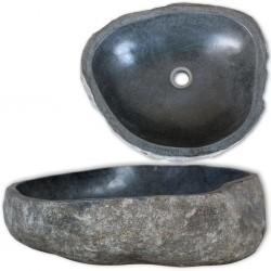 stradeXL Owalna umywalka z kamienia rzecznego, 30-37 cm
