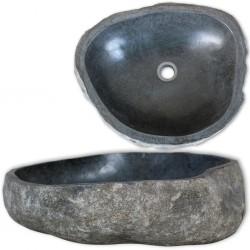stradeXL Owalna umywalka z kamienia rzecznego, 46-52 cm
