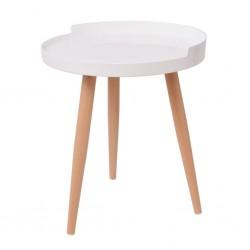 stradeXL Okrągły stolik-taca na kawę, 40 x 45,5 cm, biały