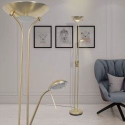 stradeXL Lampa podłogowa przyciemniana LED 23 W złota