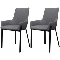 stradeXL Krzesła stołowe, 2 szt., jasnoszare, tkanina