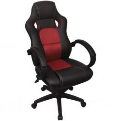 stradeXL Krzesło biurowe w stylu sportowym ze sztucznej skóry czerwone