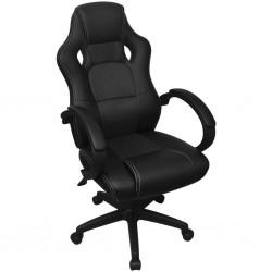 stradeXL Krzesło biurowe w stylu sportowym ze sztucznej skóry czarne