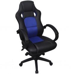 stradeXL Krzesło biurowe w stylu sportowym ze sztucznej skóry niebieskie