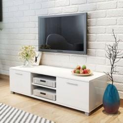 stradeXL Szafka pod TV na wysoki połysk biała 120x40,3x34,7 cm