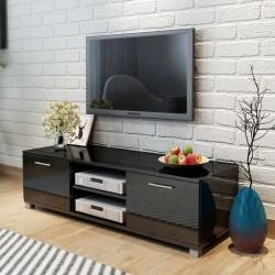 stradeXL Szafka pod TV na wysoki połysk czarna 120x40,3x34,7 cm