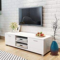 stradeXL Szafka pod TV na wysoki połysk biała 140x40,3x34,7 cm