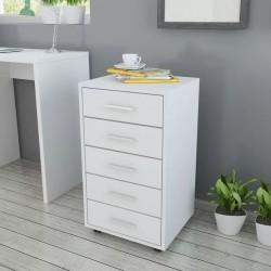 stradeXL Szafka biurowa z kółkami i 5 szufladami, w kolorze białym