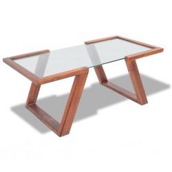stradeXL Stolik kawowy z litego drewna akacjowego, brązowy, 100x50x40 cm
