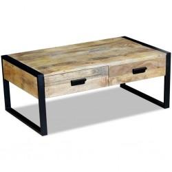 stradeXL Stolik kawowy z 2 szufladami, lite drewno mango, 100x60x40 cm