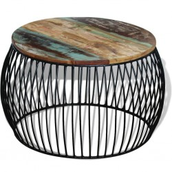 stradeXL Stolik kawowy z drewna odzyskanego, okrągły, 68 x 45 cm