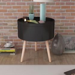 stradeXL Okrągły stolik z tacą 39,5x44,5 cm czarny
