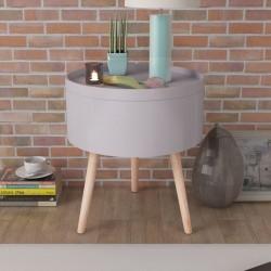 stradeXL Okrągły stolik z tacą 39,5x44,5 cm szary