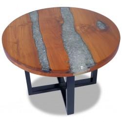 stradeXL Stolik kawowy z drewna tekowego i żywicy, okrągły, 60 cm