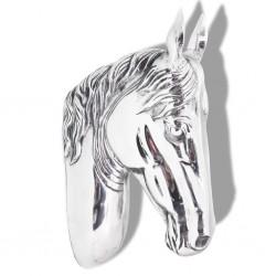 stradeXL Głowa konia dekoracyjna na ścianę, aluminium, srebrna
