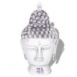 stradeXL Buddha Head Decoration Aluminium Silver