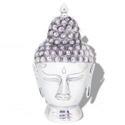 stradeXL Głowa Buddy dekoracyjna na ścianę, aluminium, srebrna
