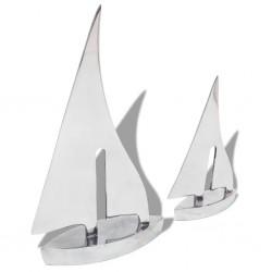 stradeXL Two Piece Sailing Boat Decoration Aluminium Silver