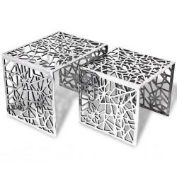 stradeXL 2-częściowy stolik boczny kwadratowy z aluminium, srebrny