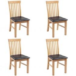 stradeXL Krzesła stołowe, 4 szt., lite drewno dębowe i sztuczna skóra