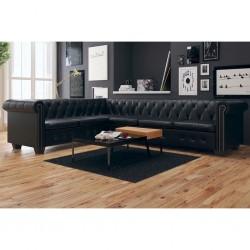 stradeXL Sofa rogowa Chesterfield sześcioosobowa czarna, sztuczna skóra