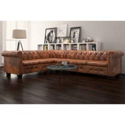 stradeXL Sofa rogowa Chesterfield sześcioosobowa brązowa, sztuczna skóra