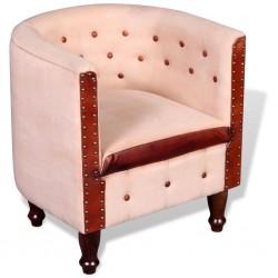 stradeXL Fotel, beżowy, skóra naturalna i płótno