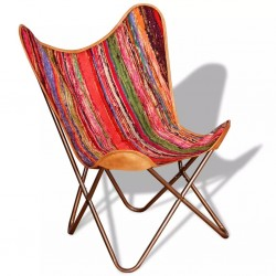stradeXL Krzesło motyl, w stylu chindi, wielokolorowe, tkanina