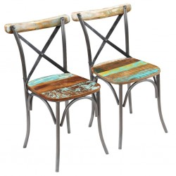 stradeXL Krzesła stołowe, 2 szt., lite drewno z odzysku