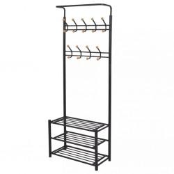 stradeXL Clothes Rack with Shoe Storage 68x32x182.5 cm Black