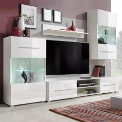 stradeXL Meble do salonu z szafką pod TV i podświetleniem LED, 5 elementów, białe