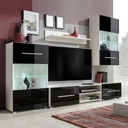 stradeXL Meble do salonu z szafką pod TV i podświetleniem LED, 5 elementów, czarne